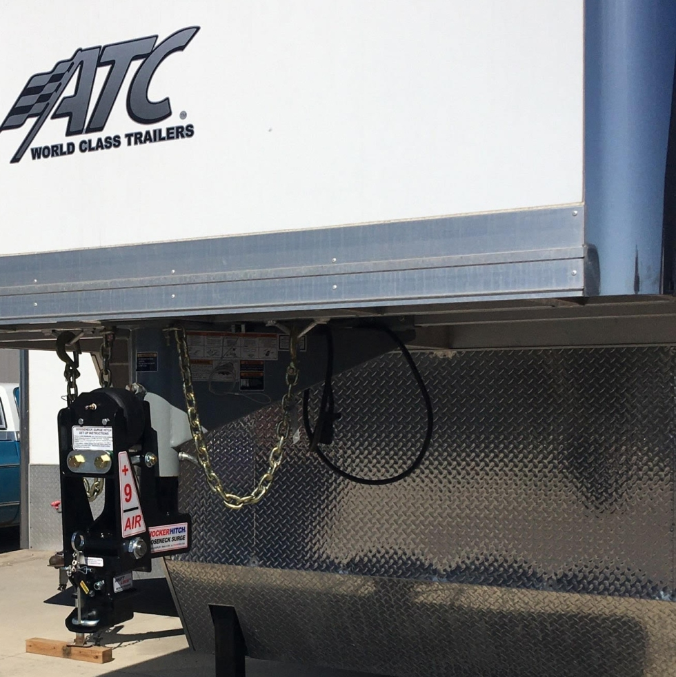 Shocker Gooseneck Air Hitch & Extension Coupler on ATC Trailer