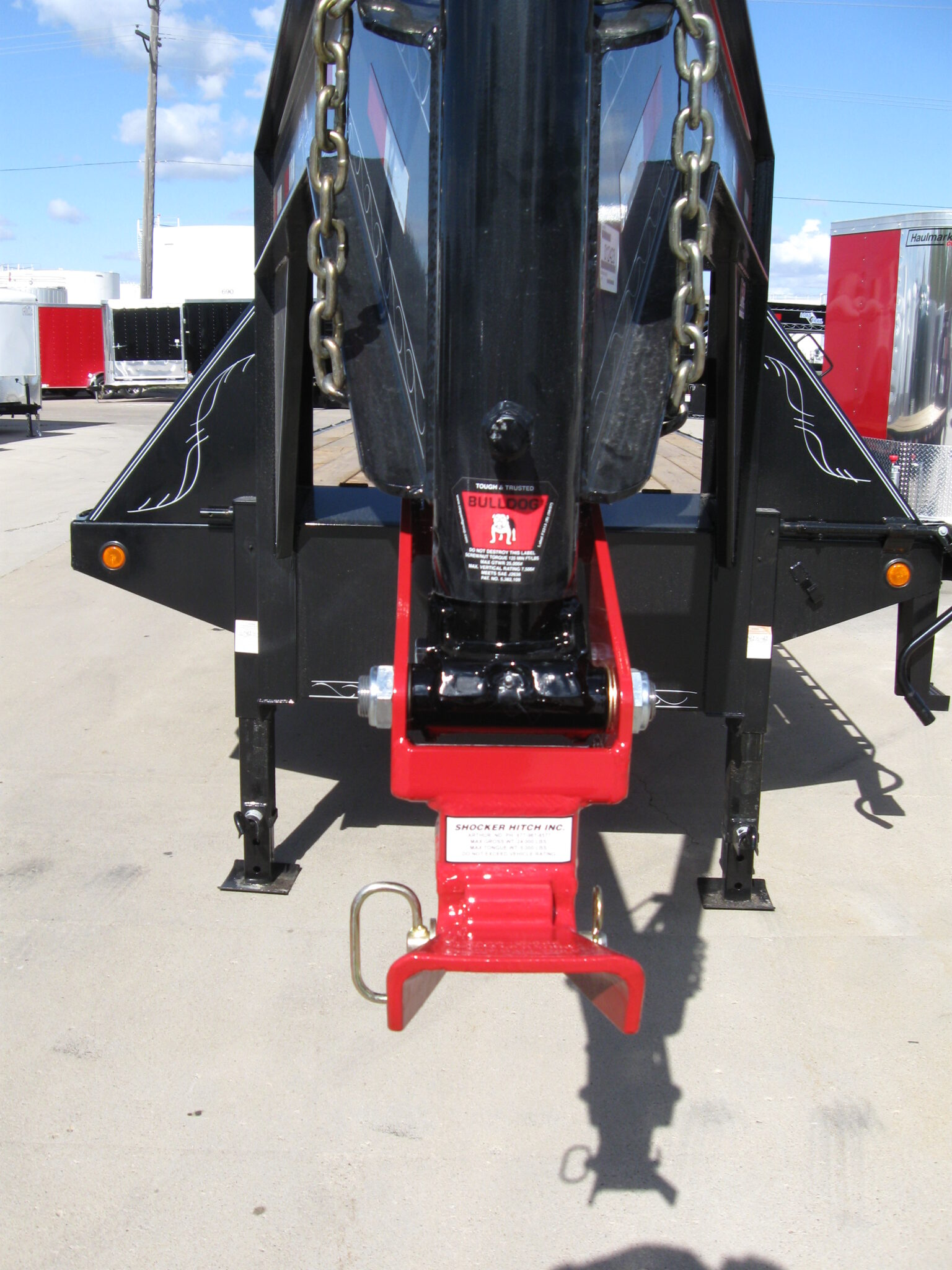 Gooseneck Surge with Ease Guide on Flatbed Trailer