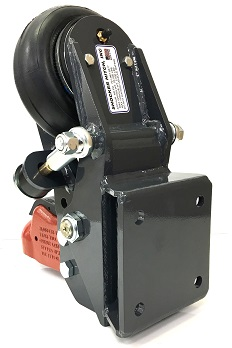 """Shocker Air Trailer Tongue Mount Hitch with 2-5/16"""" Cast Coupler - Square Plate Mount - Rear View"""