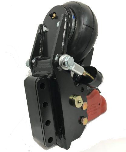 """Shocker Air Trailer Tongue Mount Hitch with 2-5/16"""" Cast Coupler - Vertical Channel Mount - Rear View"""