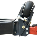 """Shocker Air Trailer Tongue Mount Hitch with 2-5/16"""" Cast Coupler - Square Plate Mount Installed on Trailer"""